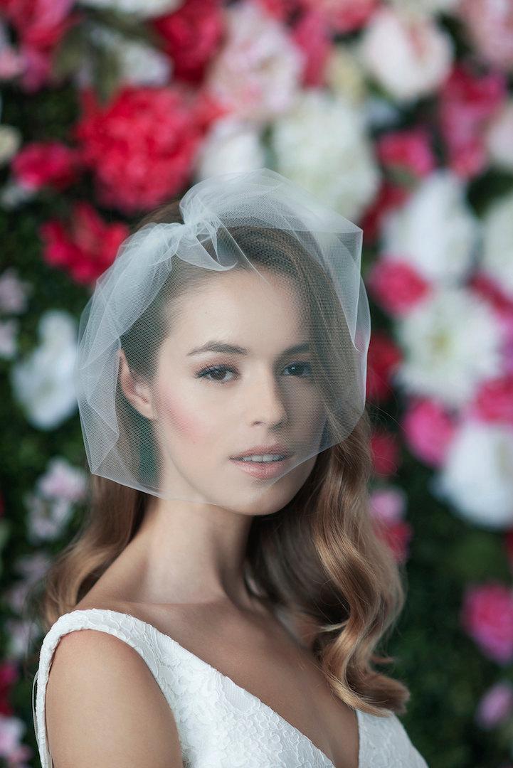 Hochzeit - MARIE MEDIUM - birdcage veil, bird cage veil, blusher veil, tulle bridal birdcage veil, tulle veil, small blusher, small tulle birdcage veil