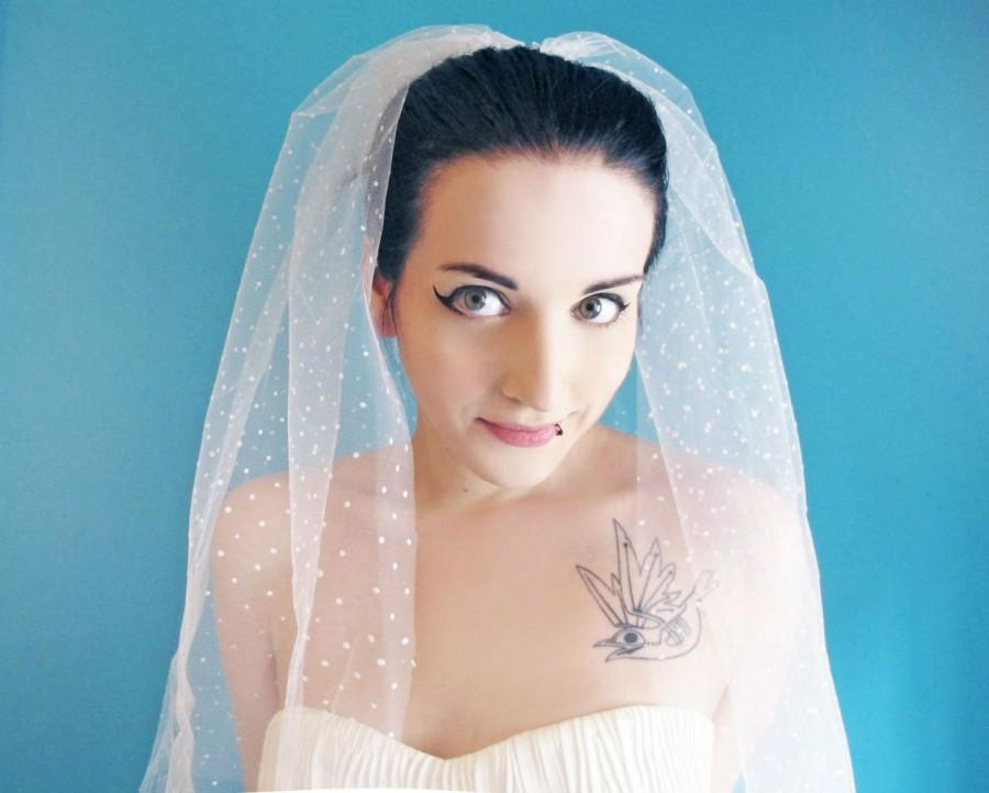 Hochzeit - Polka Dot Veil, Polka Dot Ivory Veil,  Wedding Veil Polka Dot, Bridal Polka Dot Veils,  Elbow Length Veil, Shoulder Length Veil, Long Veil