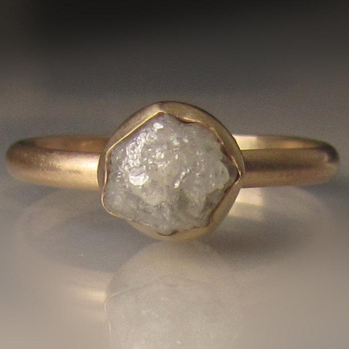 Свадьба - Raw Diamond Engagement Ring, Raw Diamond Ring, 14k Yellow Gold Rough Diamond Ring , 1.90 Carats