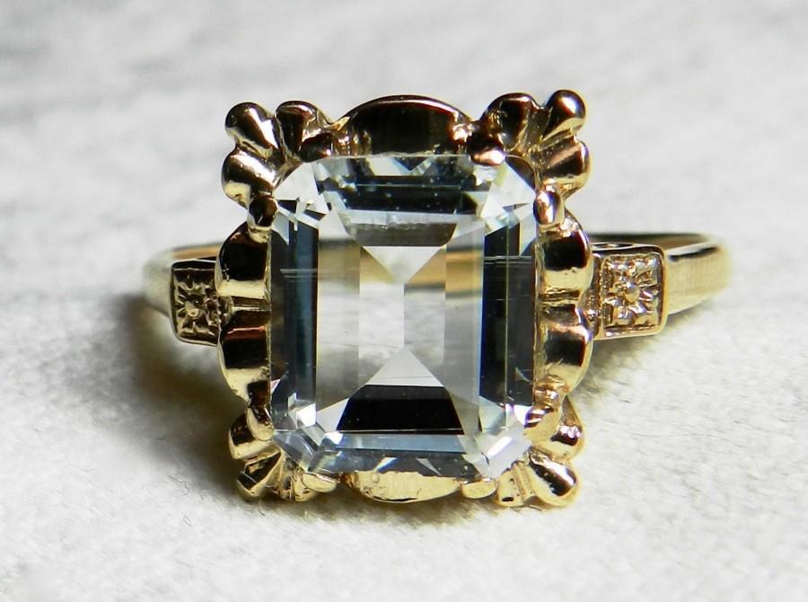 Mariage - Aquamarine Ring Art Deco Engagement Ring Vintage Ring 2.9 Carat Aquamarine 14k Yellow gold ring Orange Blossom motif