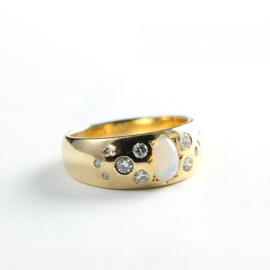 Mariage - Opal and diamond band ring in 9 carat gold vintage