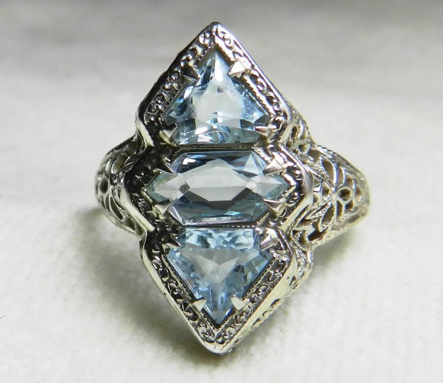 Mariage - Vintage Aquamarine Ring Aquamarine Engagement Ring Art Deco Aquamarine Ring Belais Filagree Ring in 14k White Gold