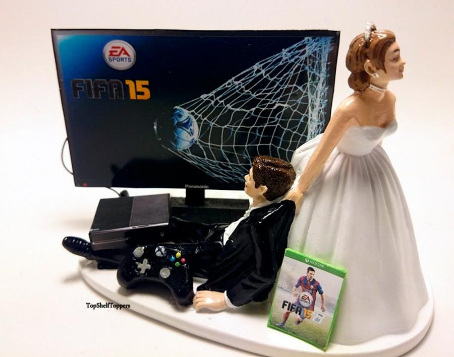 زفاف - Funny Wedding Cake Topper FIFA Custom Video Gamer Xbox One/PS4