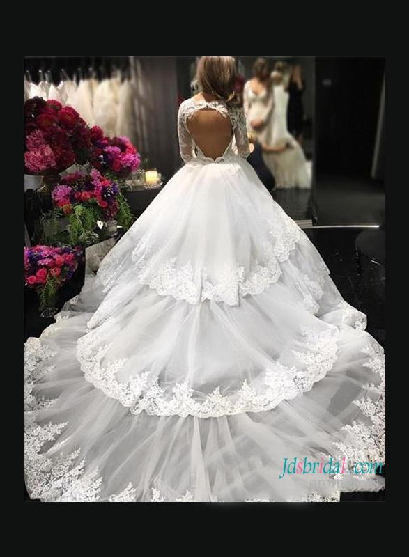 Wedding - Sexy open back illusion lace tiered ball gown wedding dress