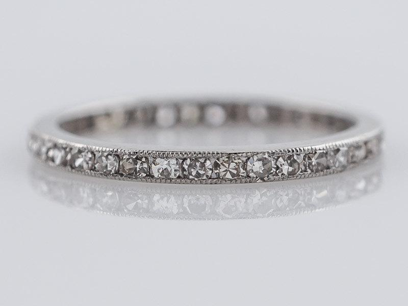 Mariage - Antique Eternity Wedding Band Art Deco .57ct Single Cut Diamonds in Platinum