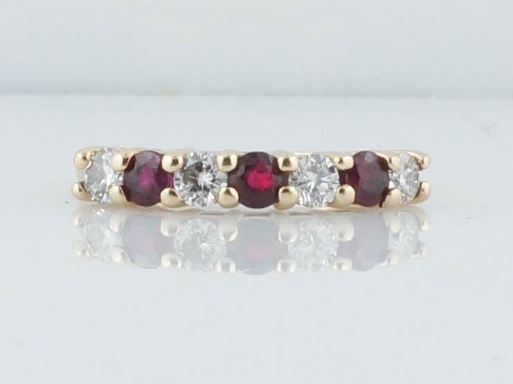 Mariage - Wedding Band Antique Style .75 Seven Stone Diamond and Ruby in 14k Yellow Gold
