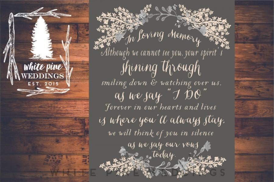 Wedding - PRINTABLE Wedding MEMORIAL Sign,  In Loving Memory, Remembrance Sign, Winter wedding, Sentimental memorial sign, grey wedding, gray, ivory