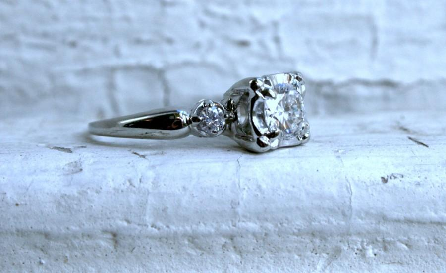 Свадьба - Vintage 14K White Gold Three Stone Diamond Engagement Ring - 0.86ct.