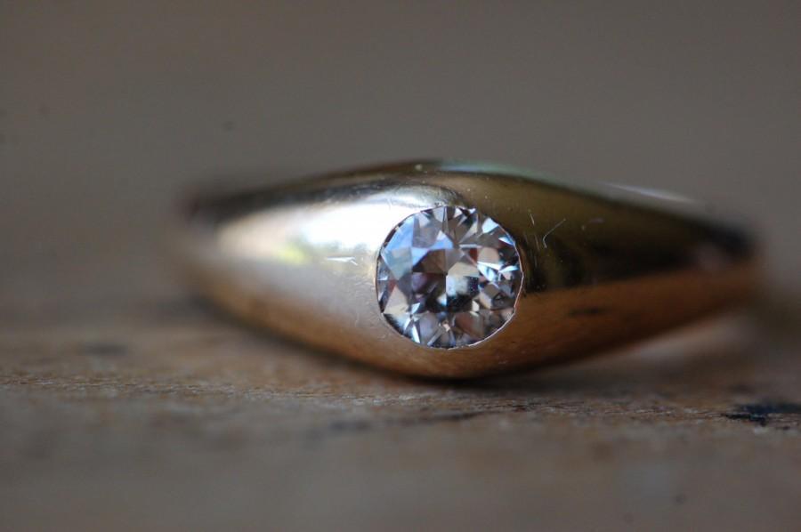 زفاف - Antique 1910s 14K .60 carat Old European Cut diamond solitaire stirrup ring