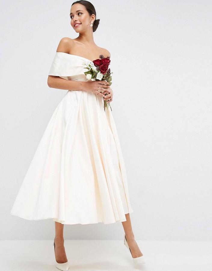 Asos Wedding Dress.Asos Bridal Off The Shoulder Bonded Sateen Debutante Dress