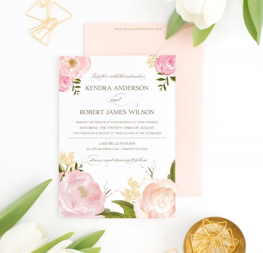 زفاف - PRINTABLE Wedding Invitation - Romantic Watercolor Peonies and Roses Wedding Invitation -  Blush Pink Peonies Floral Wedding Invitation