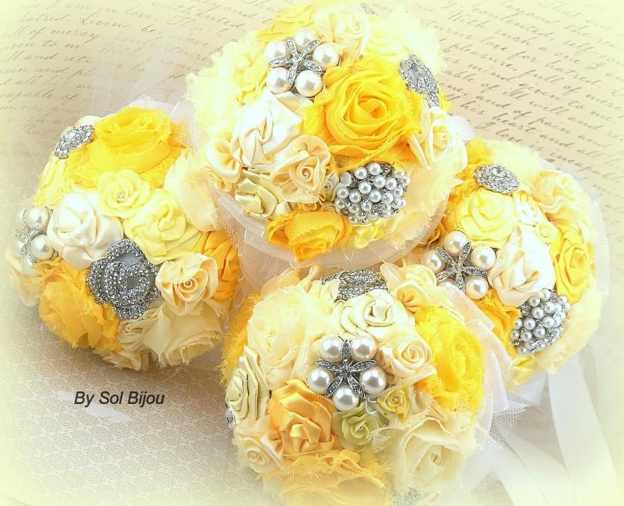 Mariage - Bridesmaids Bouquets, Yellow, Silver, White, Brooch Bouquets, Maid of Honor, Pearls, Crystals,Elegant Wedding, Vintage Style, Garden, Summer