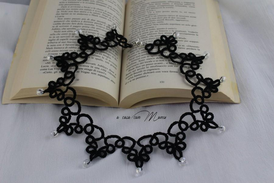 Mariage - Collana nera pizzo chiacchierino, black lace necklace tatting, regalo per lei, jewelry tatting, collana girocollo, handmade, made in Italy