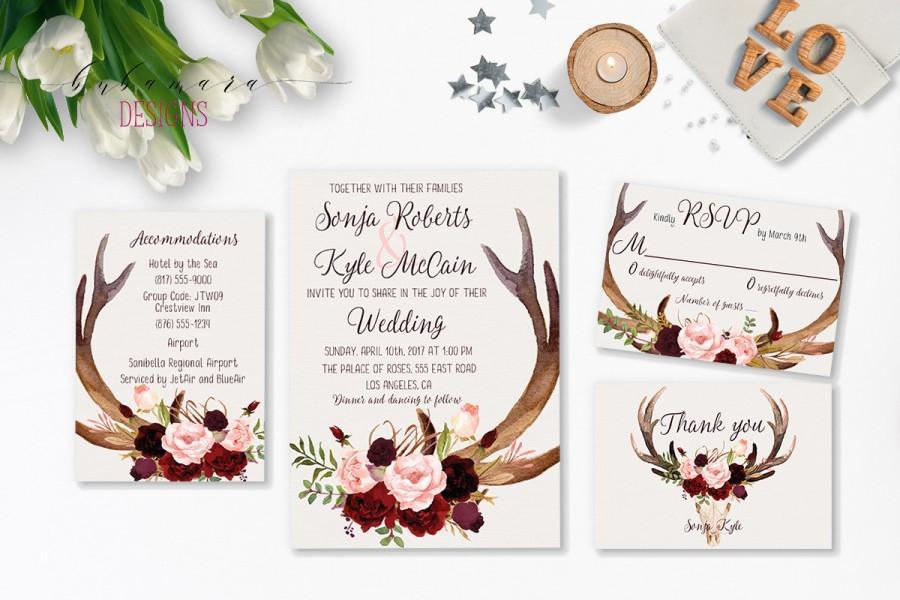 Wedding - Deer Antlers Burgundy Printable Wedding Invitation Suite Marsala Floral Autumn Wedding Invite Set Skull Horns Fall Digital Invite - WS035