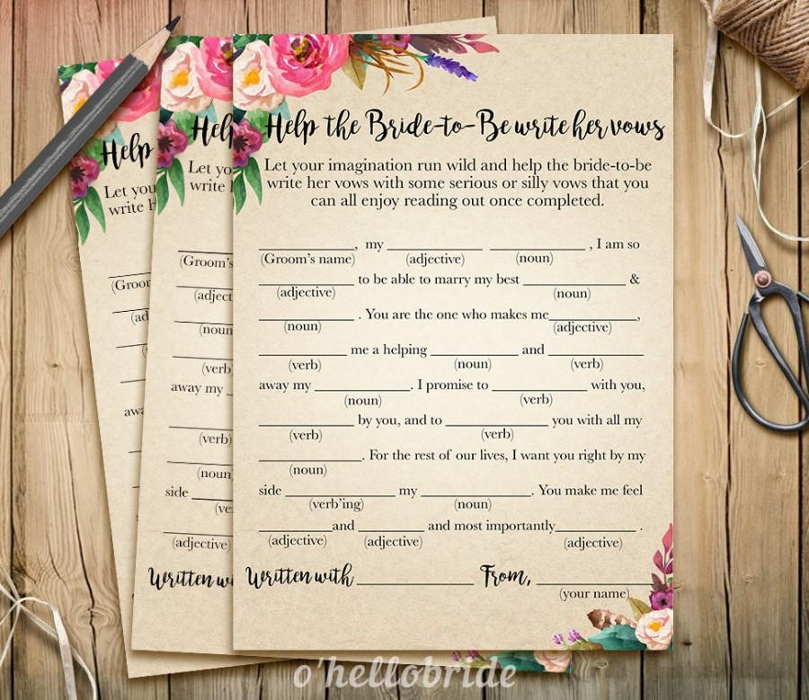 help the bride to be write her vows bridal shower game wedding vows printable boho bohemian bridal shower game bachelorette party 003