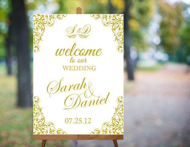 Свадьба - Wedding Welcome Sign Printable Wedding Sign Gold Wedding Signs Elegant Wedding Signs Custom Wedding Signs Large Digital Wedding Sign PDF - $9.90 USD