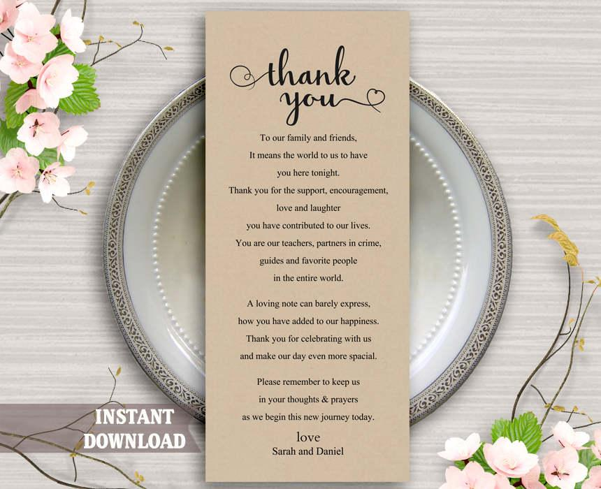Printable Thank You Place Card Wedding Thank You Card Template