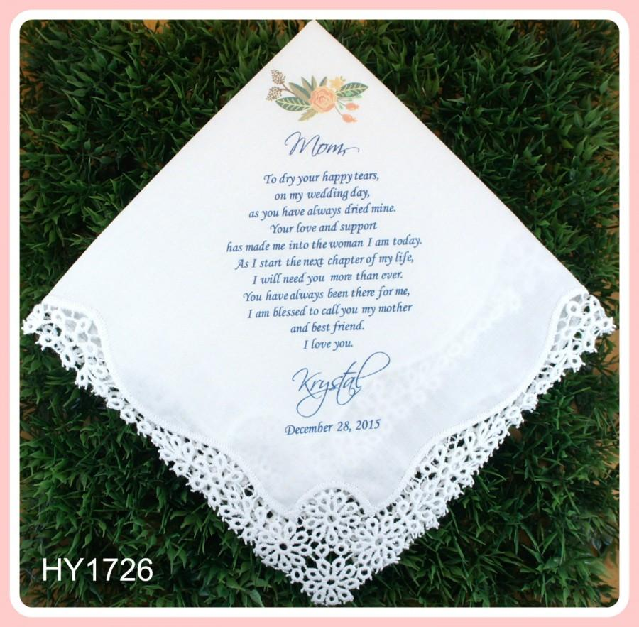 Mariage - Mother of the Bride Handkerchief from the Bride-Wedding Hankerchief-PRINTED-CUSTOMIZED-Wedding Hankies-Butterfly-Mother of the Bride Gift