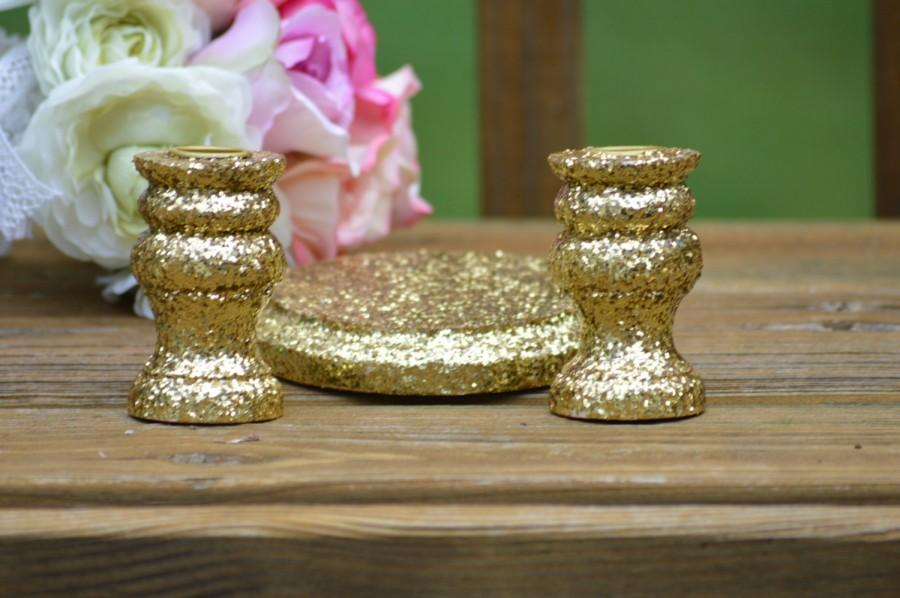 زفاف - Gold wedding unity candle holders , vintage wedding, shabby chic unity candle set, rustic wedding decor, set of 3