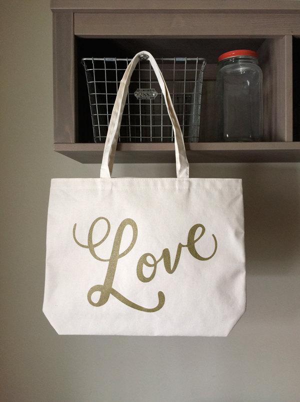 Mariage - Love Tote / Wedding Tote / Wedding Bag / Bridesmaid Bag / Welcome Tote / Welcome Bag / Destination Wedding Bag / Tote Bag with Gold Ink