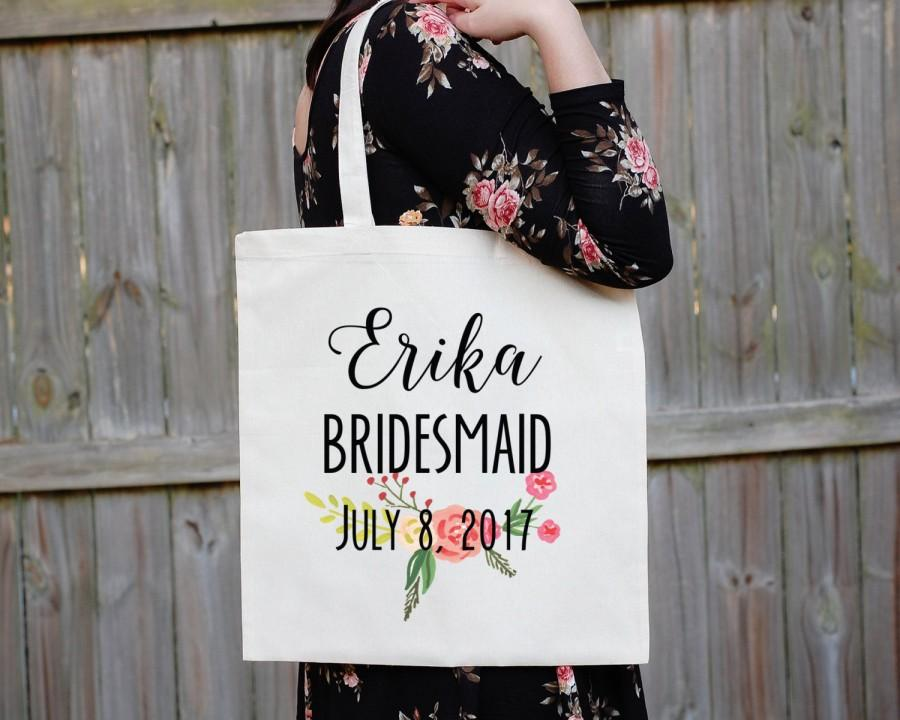 Свадьба - Bridesmaid Tote Bag, Floral Canvas Tote Babe, Maid of Honor Tote Bag, Bridal Party Tote Bag, Custom Wedding Bag, Personalized Wedding, South