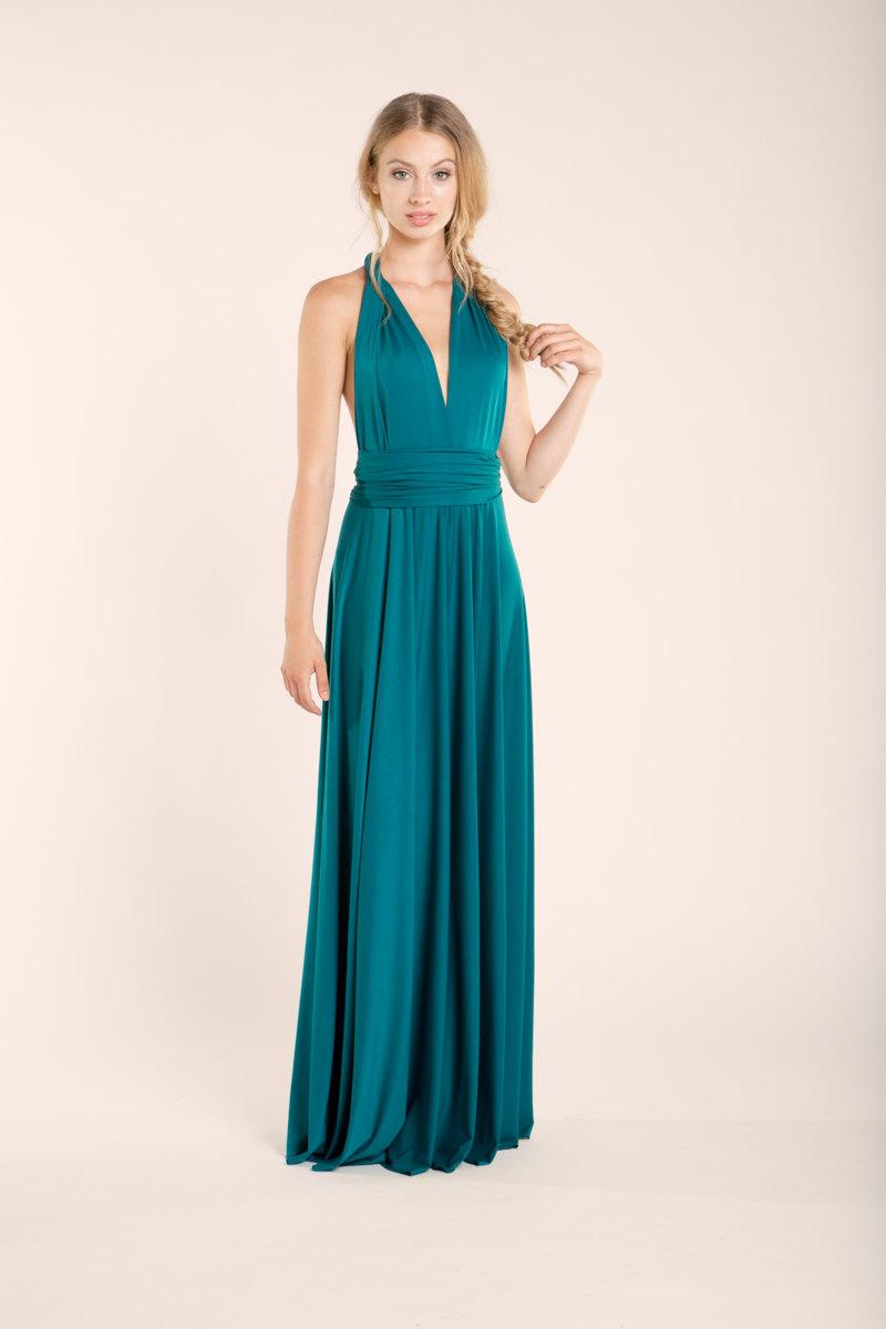 Mariage - Teal long dress, maxi dress, bridesmaid dress, turquoise party dress, turquoise bridesmaid dresses, feminine party long dress, event dresses