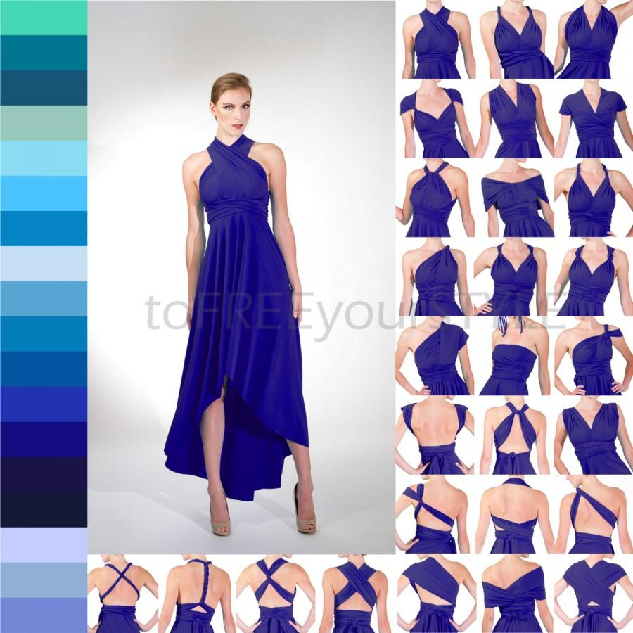 babd2fab5 HIGH-LOW infinity dress in BLUES, Free-Style Dress, convertible dress, convertible  wrap dress, bridesmaid dress, mismatched ombre dresses