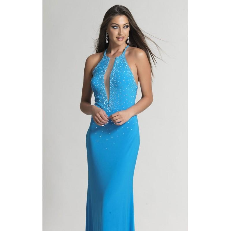 Свадьба - Turq Beaded Sheer Slim Gown by Dave and Johnny - Color Your Classy Wardrobe