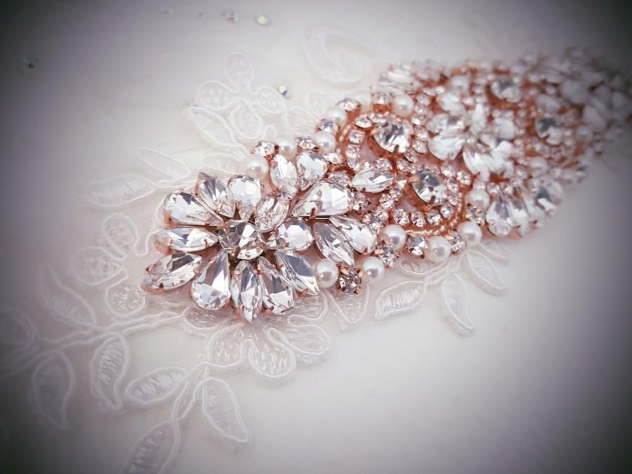 Mariage - Weddings, Crystal headband, Rose Gold Wedding headband, Rhinestone headband, Lace headband, Bridal headpiece, Rose Gold Accessories