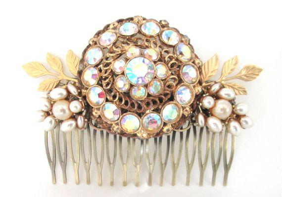 Свадьба - Bridal Hair Comb  New Years Eve Jewelry Hair Piece Rhinestone Hairpin Wedding Accessories Facinator Vintage Collage Crystal Glass Gold