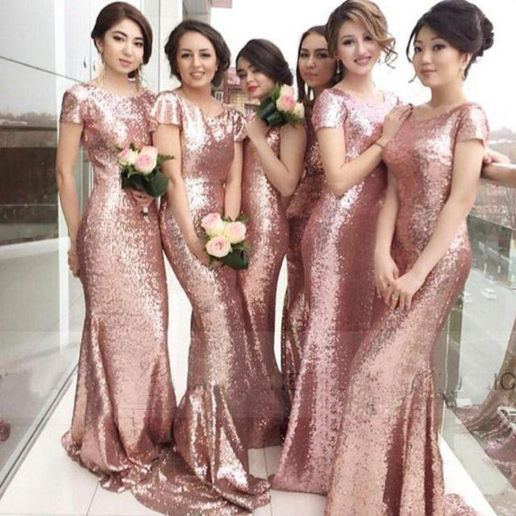 Hochzeit - Sparkly Rose Gold Sequins Bridesmaid Dresses 2016 Jewel Short Sleeves Mermaid Long Bridesmaid Gowns Bling Bling Wedding Party Gowns