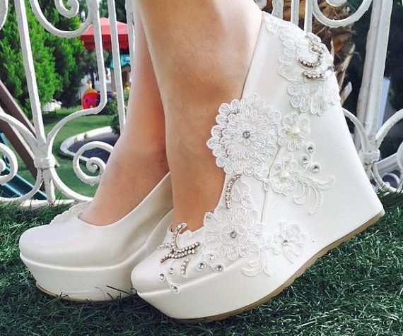 Hochzeit - Wedding ,Wedding Wedges, Bridal Wedge Shoes,Bridal Shoes, Bridal Platform Wedges, Bridal Wedges , Ivory Wedding Shoes, Bridal Shoes