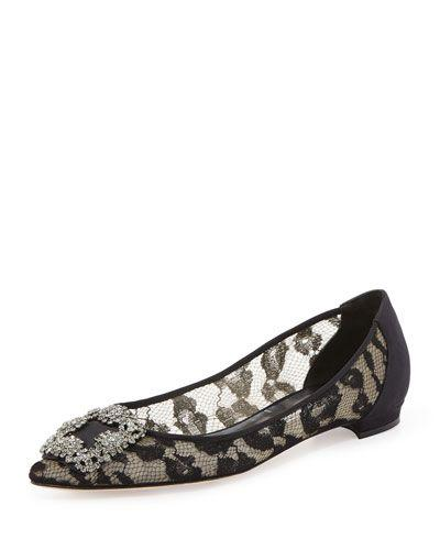 Mariage - Hangisi Crystal-Buckle Lace Flat