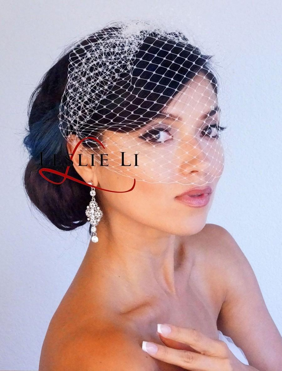 Mariage - Leslie Li Vintage Inspired French Netting Bridal Birdcage Veil 23