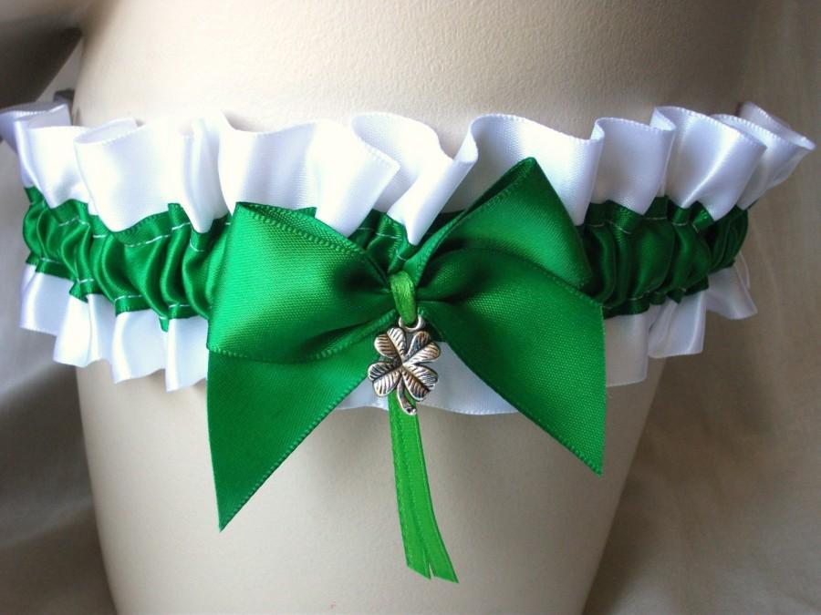 Mariage - White , Emerald ,  Satin , Lucky , Shamrock , Clover , Green Garter , Irish , St Patricks , Day , Wedding , Bride , Hen , Bachelorette , UK