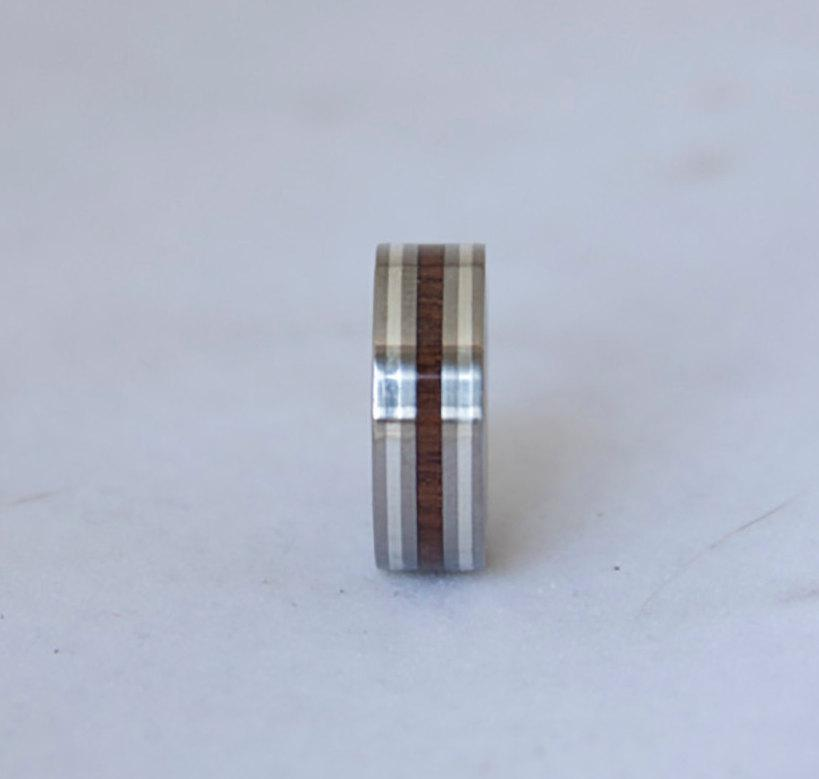 Wedding - Titanium Ring Wood Ring black walnut // mens wedding band  // Men's Wedding rings