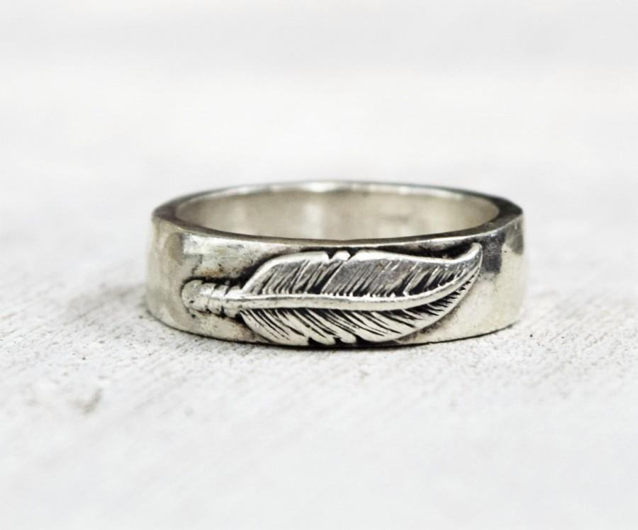 Wedding - Sterling Silver Thick Feather Wedding Band - Mens Ring -  Womens Ring  - Unisex Wedding Ring - Rustic Hammered Ring