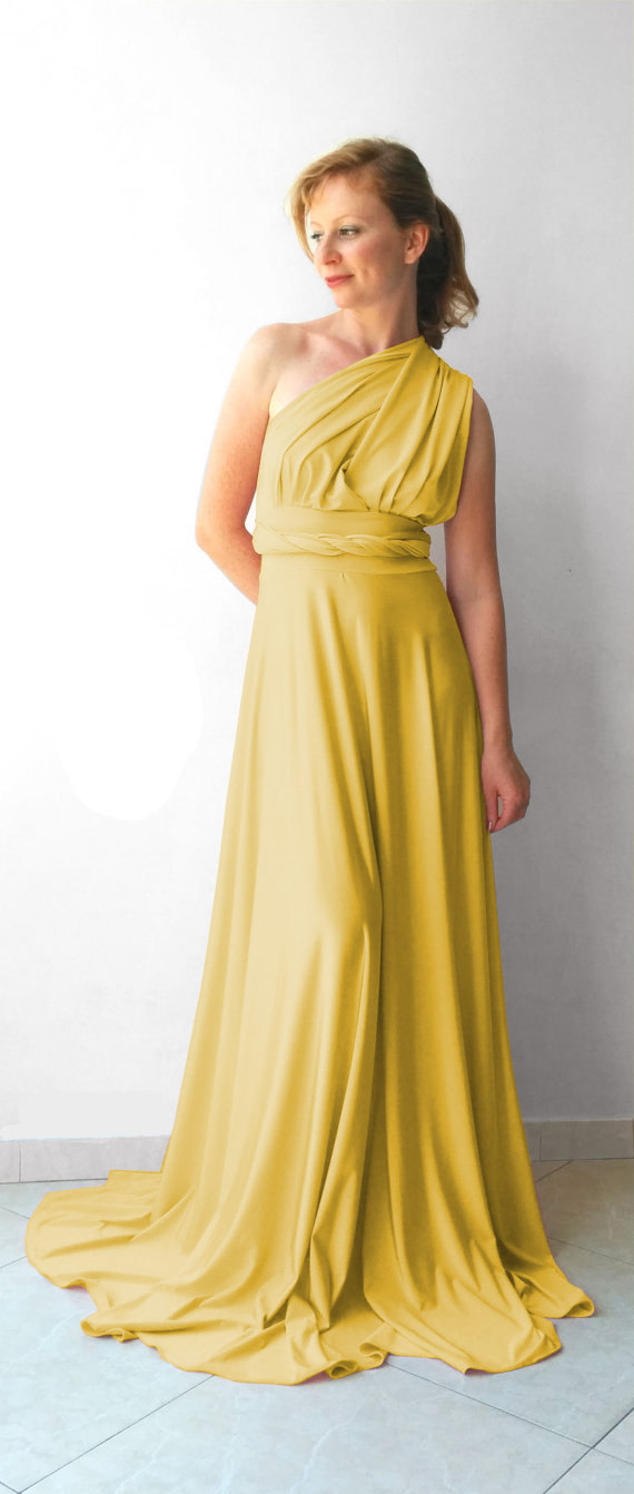 Hochzeit - Infinity Dress in color light mustard floor length with long straps