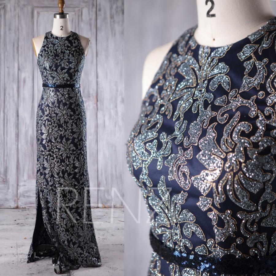 Hochzeit - 2017 Navy Bridesmaid Dress with Sequin, High Neck Wedding Dress Slit, Slim Prom Dress, Mother of Bride MOB Dress Floor Length (JQ187)