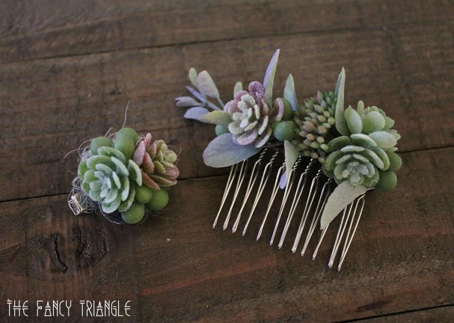 Hochzeit - Get Both-Handmade Succulents Asymmetrical Side Comb & Mini Succulents Alligator Hair Clip (faux succulents)- FOR SUCCULENT LOVERS :)