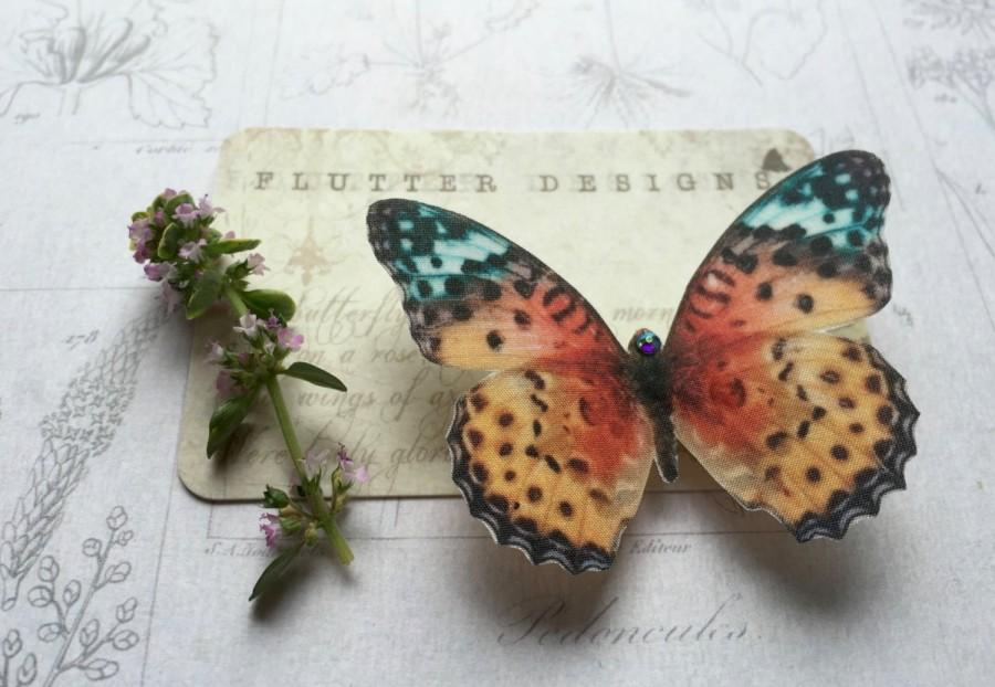 Hochzeit - Hand Cut silk butterfly hair clip - Multi coloured