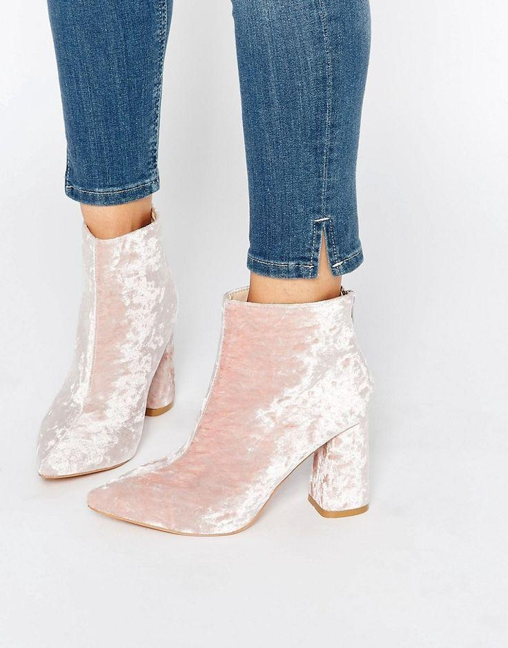 Mariage - Daisy Street Pink Crushed Velvet Point Heeled Ankle Boots At Asos.com