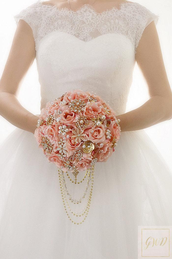 Roses Cascade Wedding Bouquet Blush Pink Brooch Bridal Gold Rose For Brides