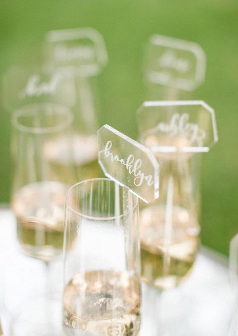 etched acrylic place cards drink stirrers custom laser cut escort cards place cards - Custom Place Cards