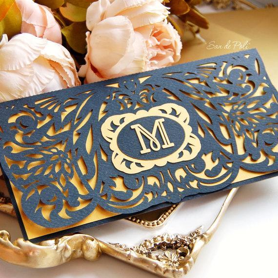 زفاف - Wedding stationery invitation Art Deco Nouveau monogram Card Templates SVGfiles Lace fold (svg, dxf, ai, eps) papercut lasercut Cameo Cricut