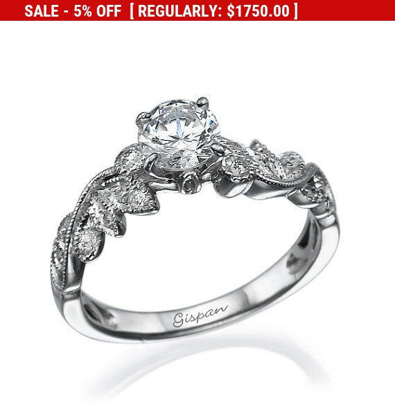 Wedding - Gia Diamond Engagement Ring, White Gold Ring, Leaves Ring, Leaf Ring, Antique Ring, Art deco Ring, conflict free engagement rings, Band Ring