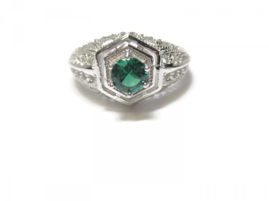 زفاف - Vintage Synthetic Emerald Ring Sterling Size 7