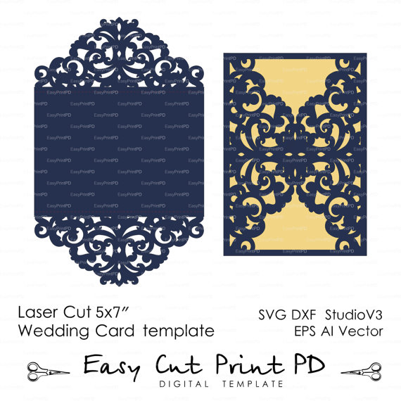 Wedding Invitation Pattern Card Template Lace Folds studio V3