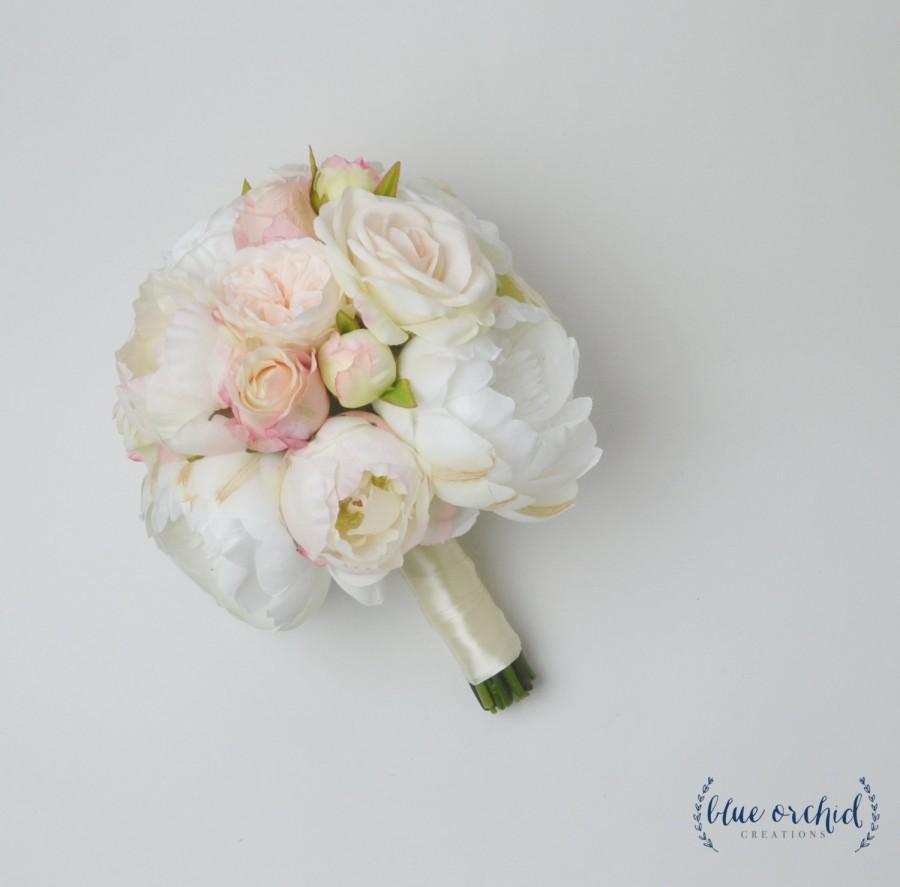 wedding bouquet silk wedding bouquet bridal bouquet rose bouquet silk flowers ivory bouquet blush bouquet white bouquet garden rose