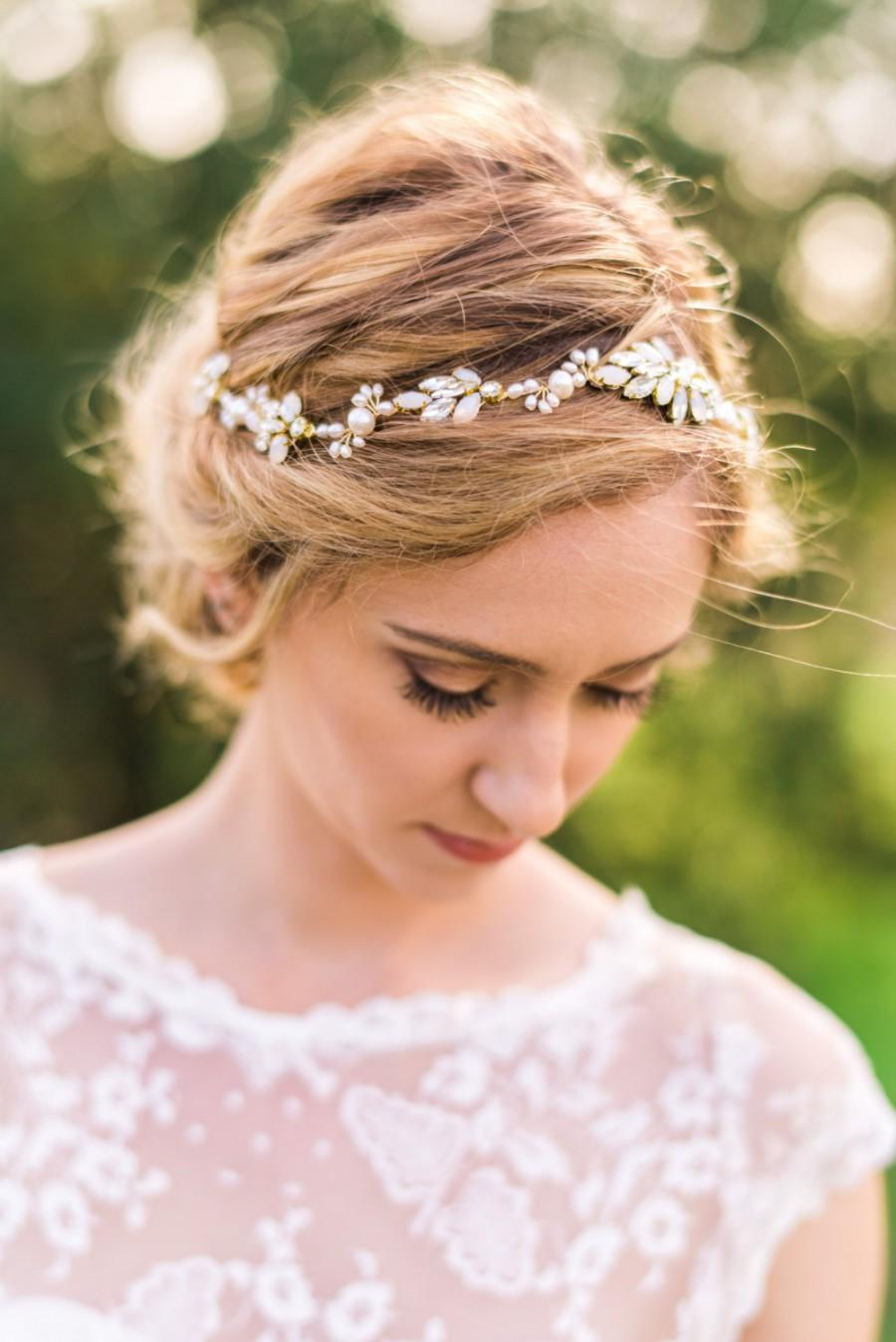 Mariage - Crystal Bridal Headband Bridal Hairpiece Crystal Headband Opal Crystal Headband  Wedding Headband Pearl Headband Beaded Headband #147